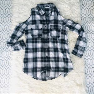 Cold Shoulder Flannel Shirt